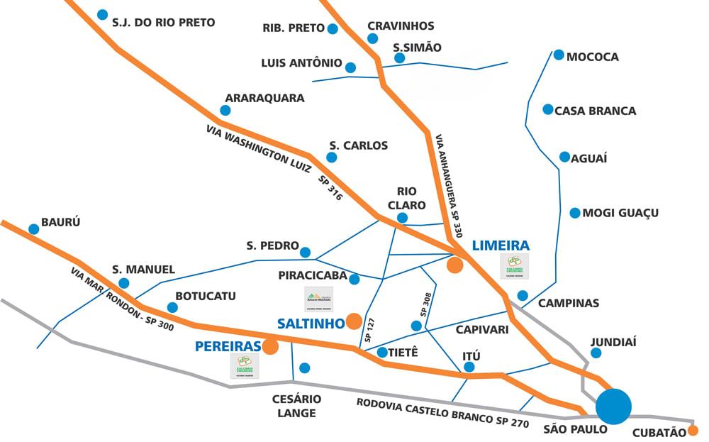 Mapa de localização das associadas da Embracal